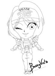 [Lineart]YGO 5Ds Raffle Prize - Lily Chibi Version by BeckyVida