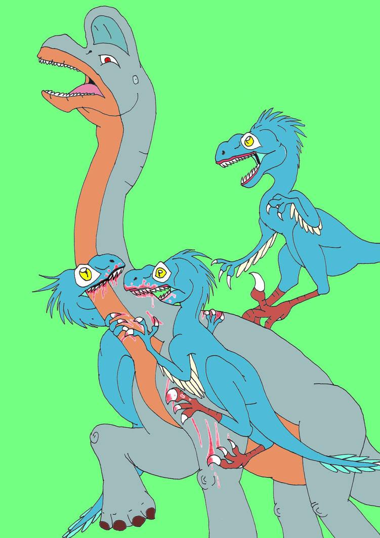 sauroposeidon vs raptors by AsmodeodeSinan