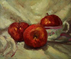 Apples and teacup still life by aleksandrauzarek