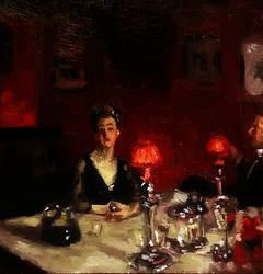 Dinner table at night John Singer Sargent Study by aleksandrauzarek