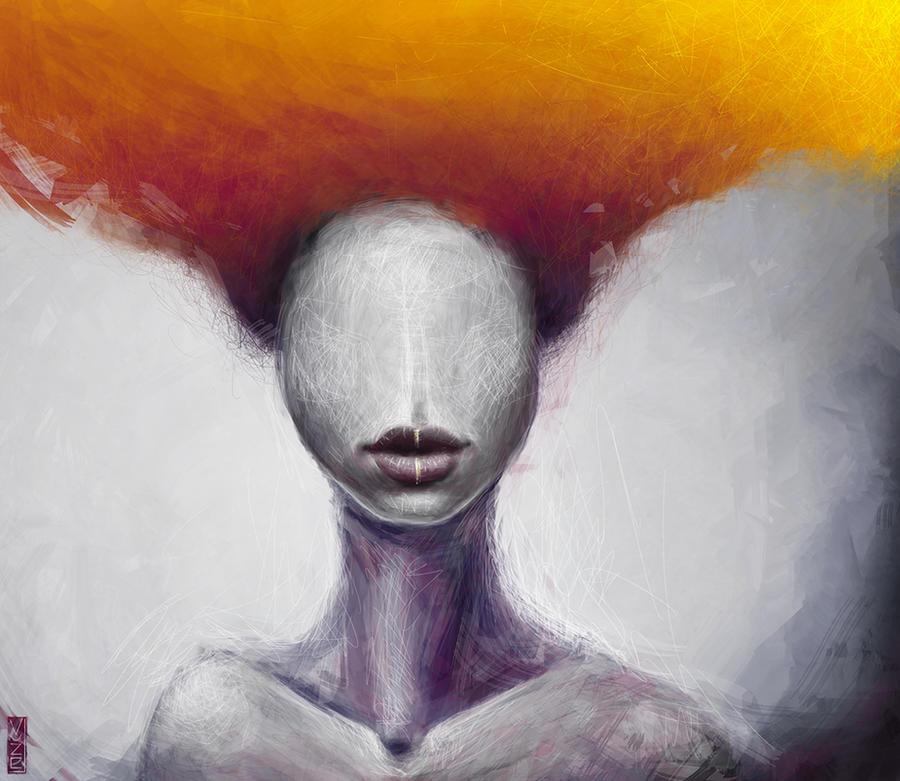 fiery hair by vuzel