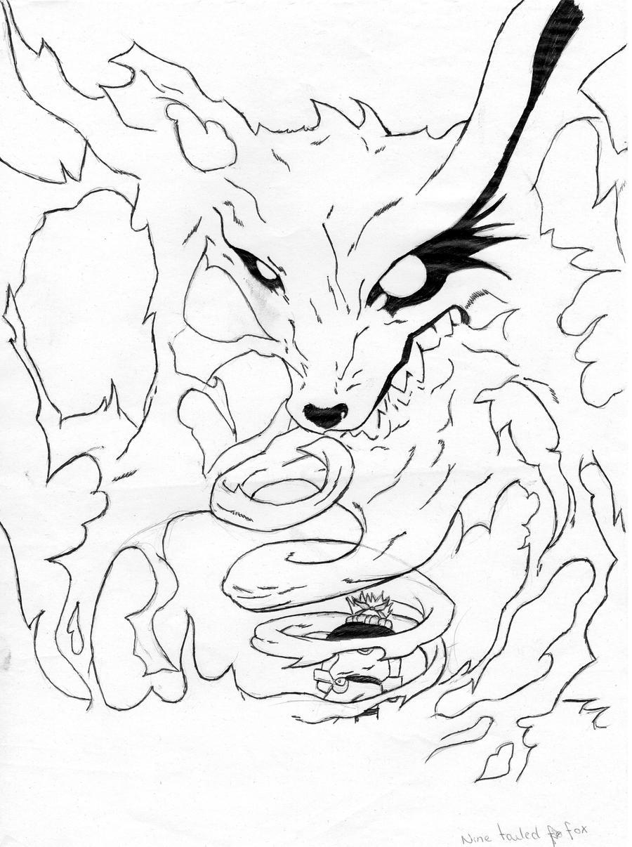 Naruto Nine Tailed Fox Form Drawings