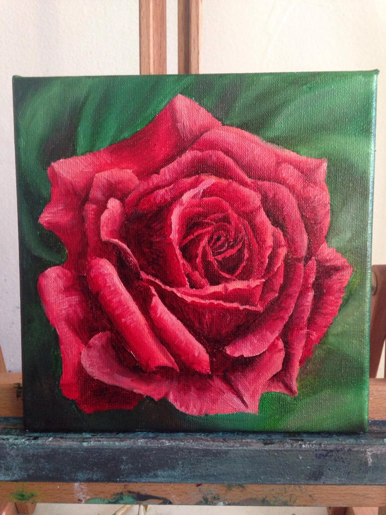 Realistic rose oil painting by bambiepies on deviantart for How to canvas art
