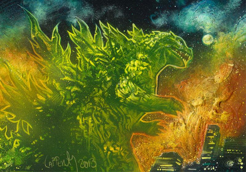 Godzilla - Double Sketch card by JeffLafferty