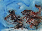Conan vs The Wolves, Oil on Canvas