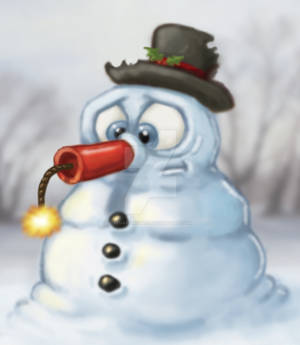 Snowman with Dynamite Nose