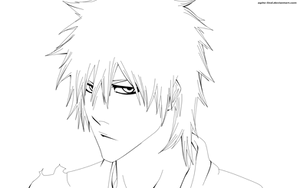 Kurosaki Ichigo lineart by aagito