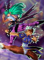 Morrigan VS Chun-Li by nfteixeira