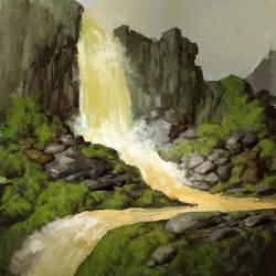 Yellow waterfall sketch