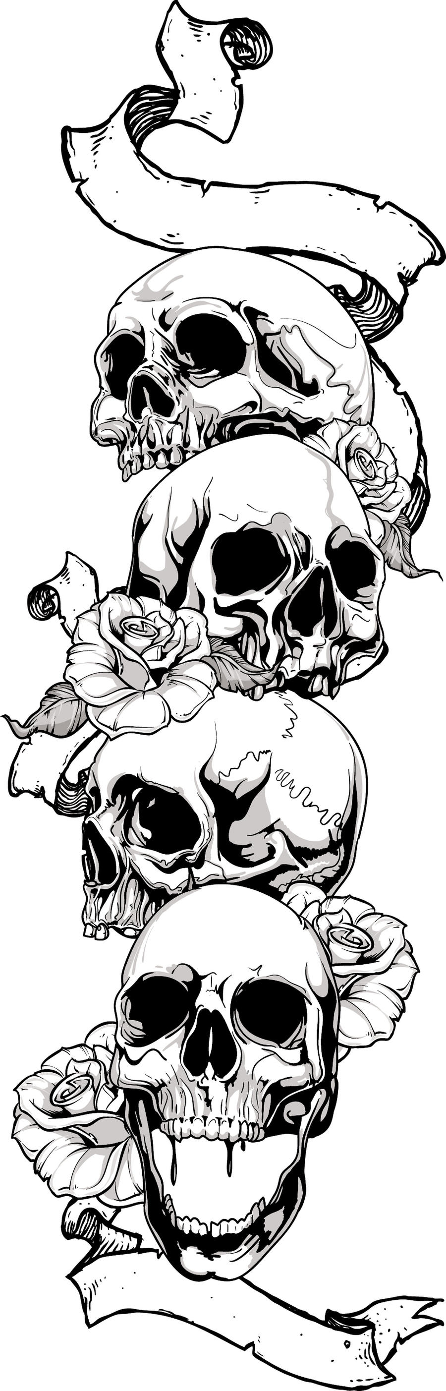 4 skulls tattoo by neon05