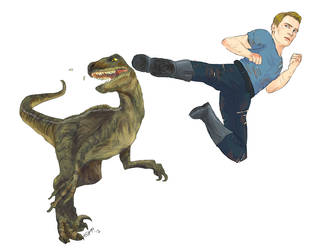 steve rogers kicking a velociraptor in the face