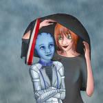 Shepard and Liara Caught in the Rain by KaelanDM