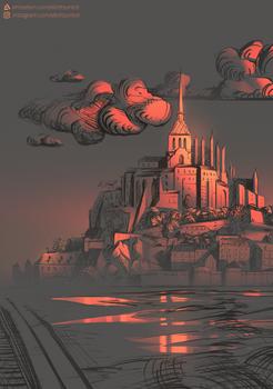 Sunset over Mont-Saint-Michel
