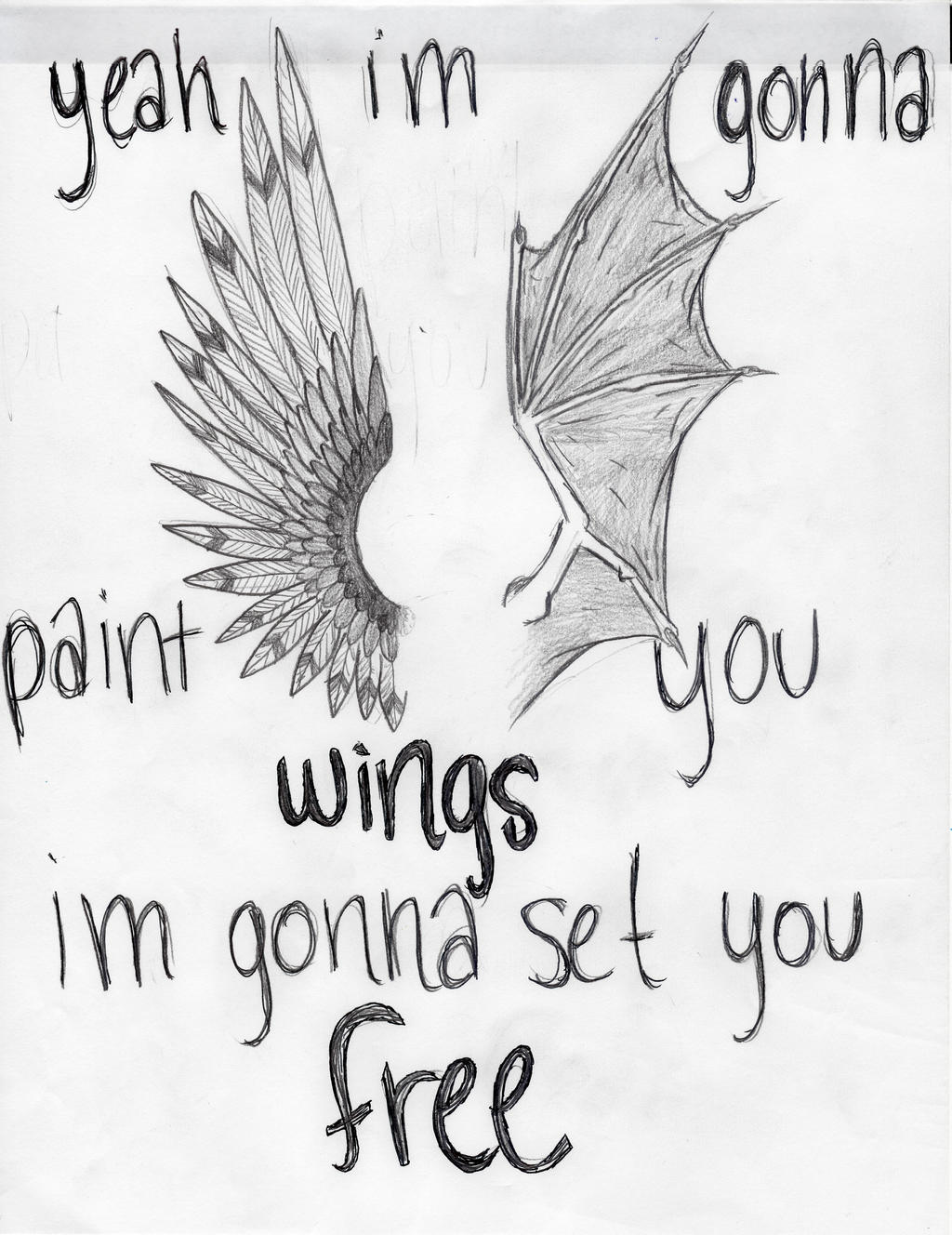 Wings in all black lyrics