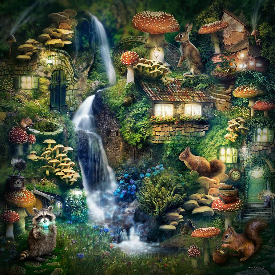 Mushroom Village by GingerKellyStudio