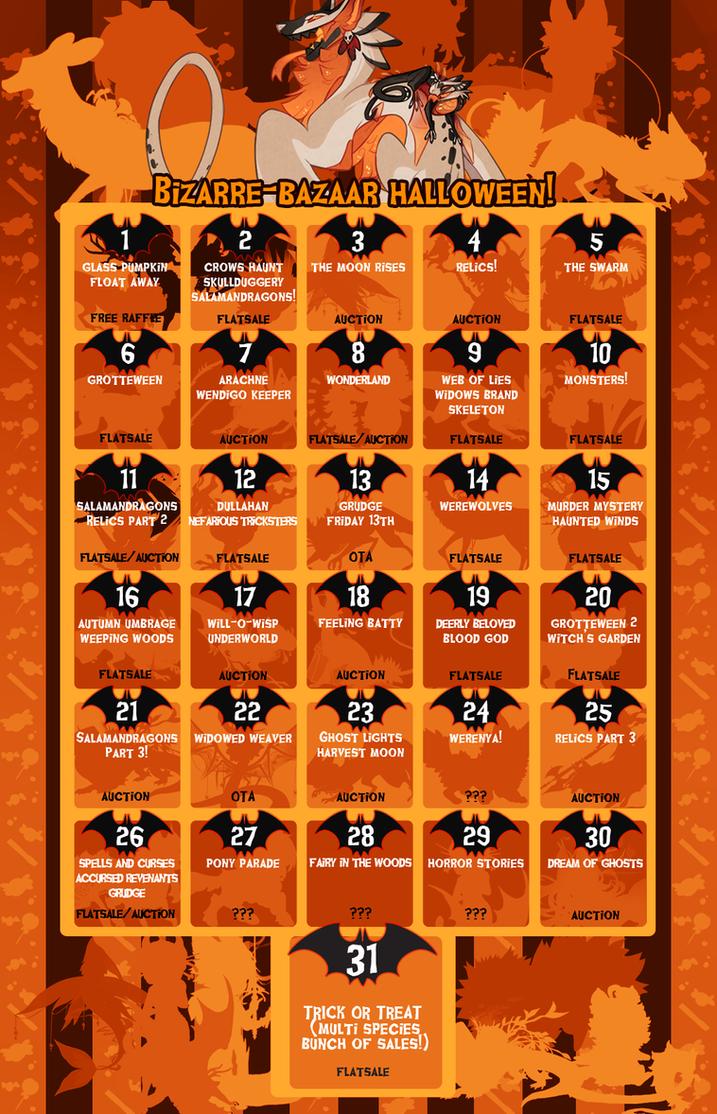 bizaare bazaar halloween calendar event schedule by gentlelark
