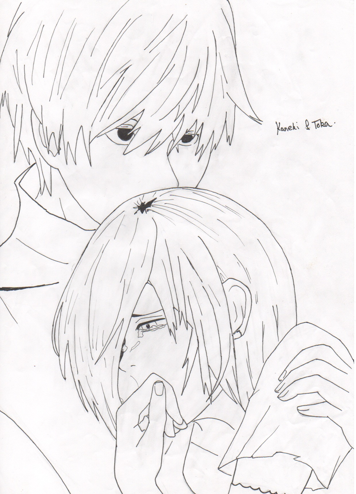 Kaneki Lineart : Kaneki and touka lineart by elow on deviantart