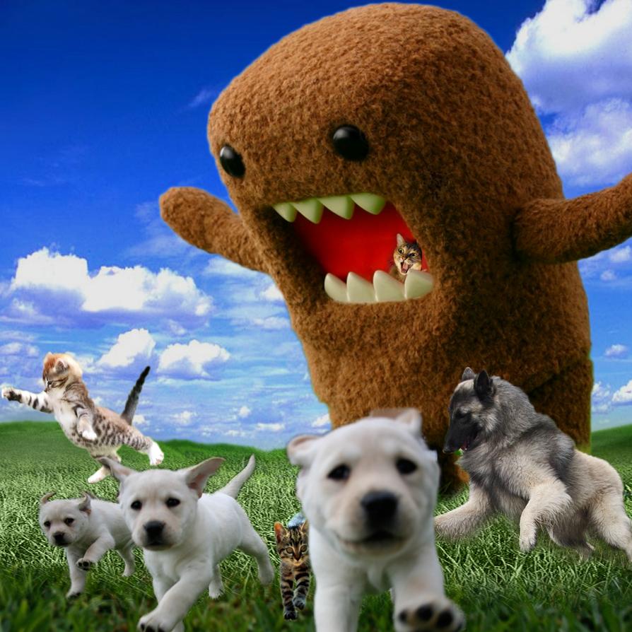 domo eats kitties and puppies by MoonlitSnowWolf on DeviantArt