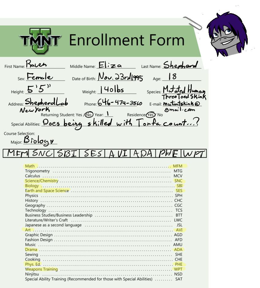 .:Raven Shepherd - TMNT-U Enrollment Form:. by MishkaBonnefoy