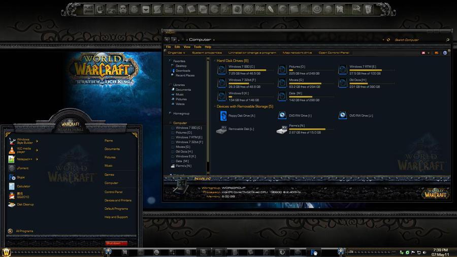 world of warcraft тема для windows 7