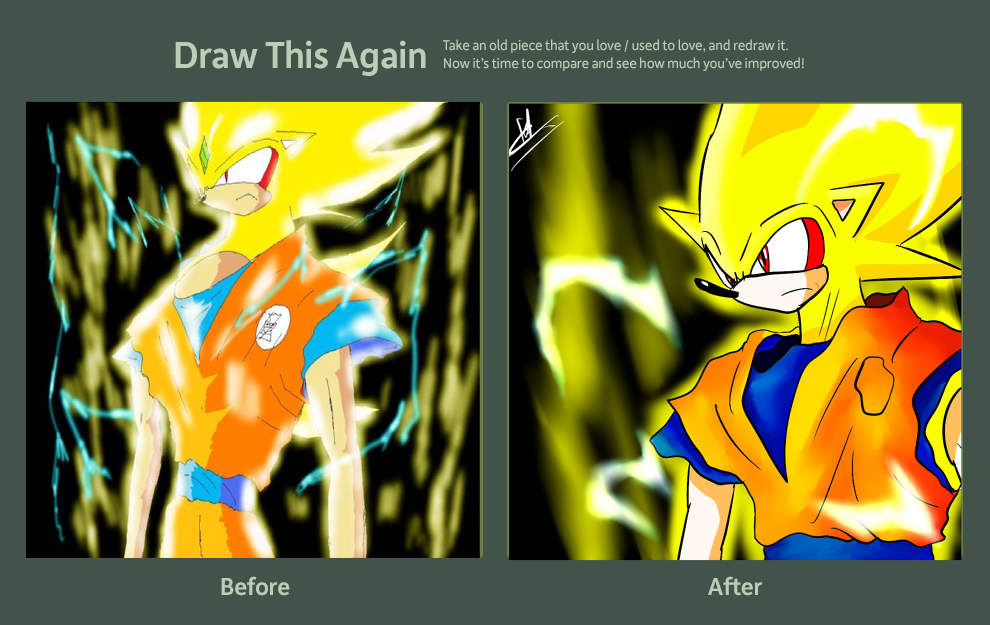 DRAW THIS AGAIN CONTEST - DBZ-ished SUPER SONIC by kaiserkleylson