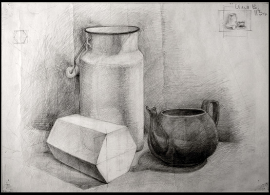 Still life pencil drawings