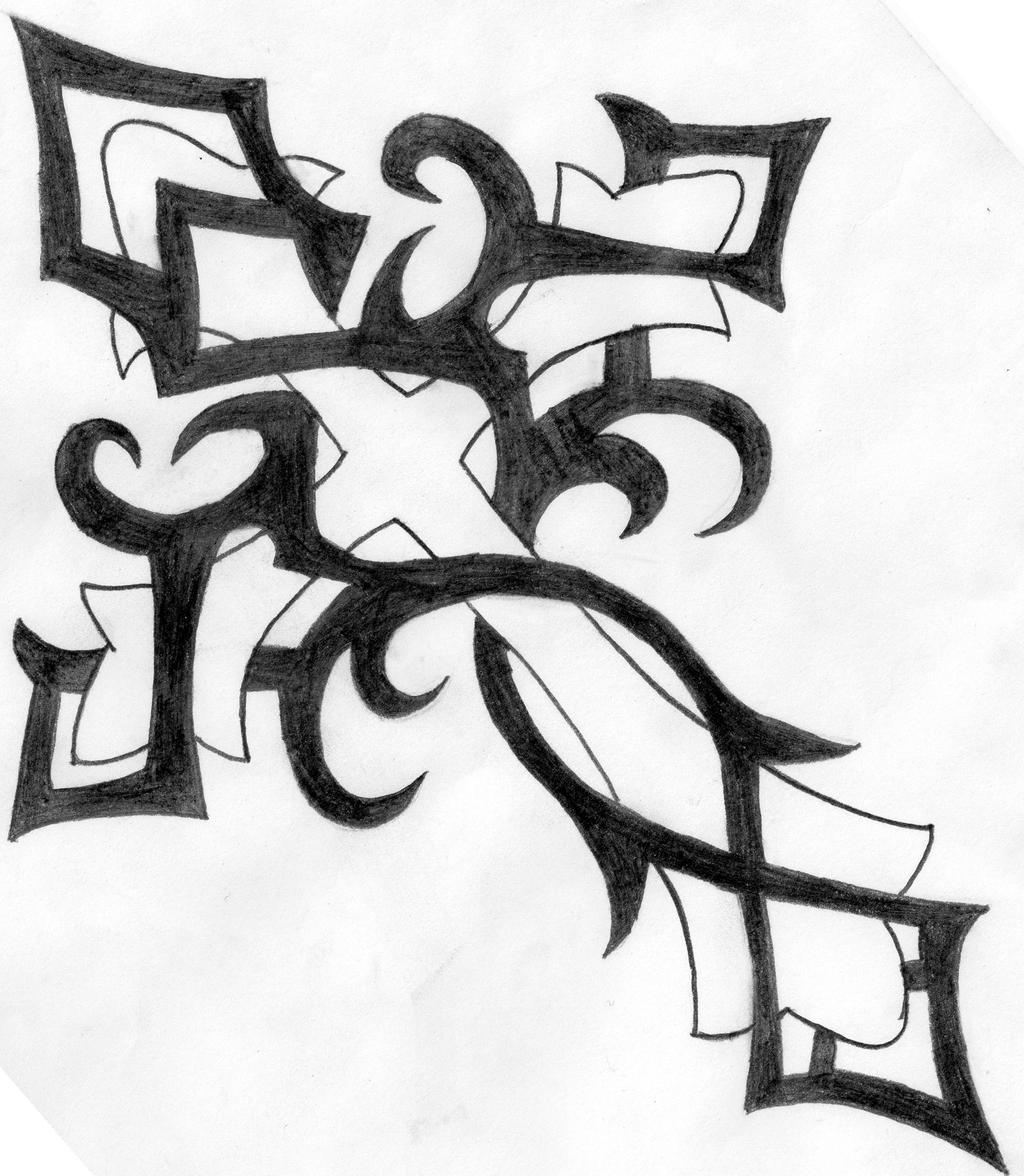 It is a graphic of Inventive Tribal Cross Drawing