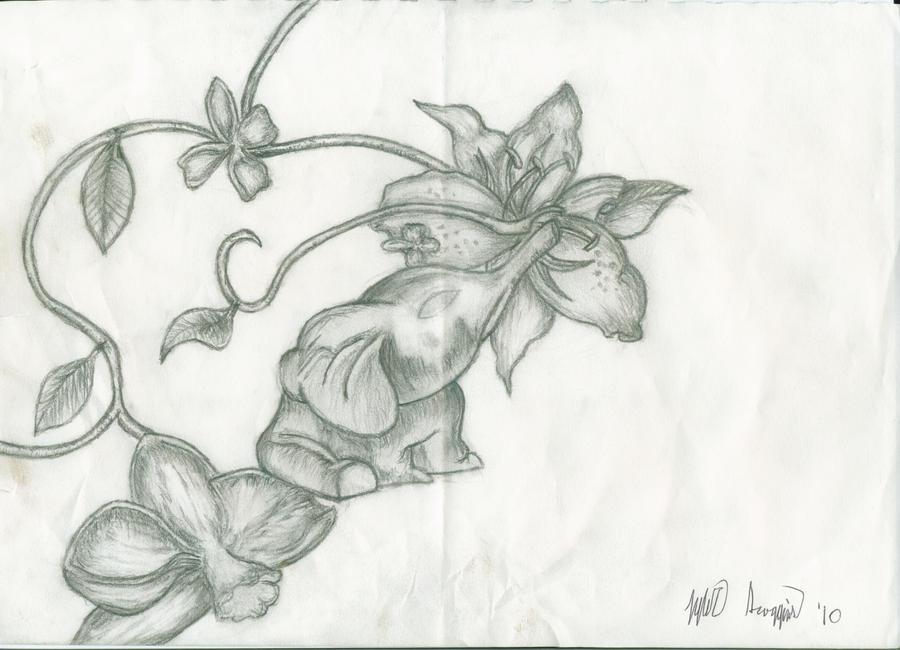 Elephant Drawing Tattoo Elephant And Flowers Tattoo by