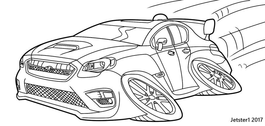 Line Art Limited : Subaru wrx sti limited line art toon by jetster on