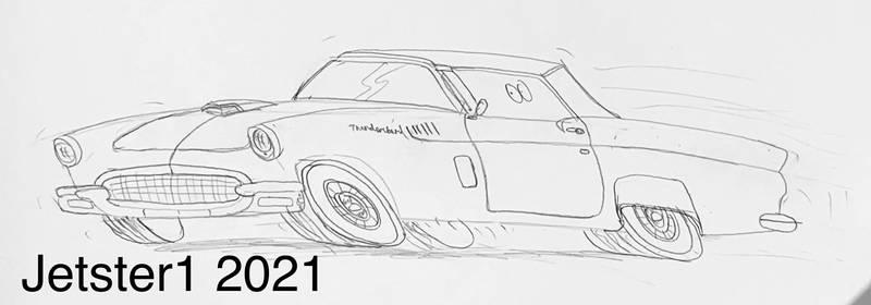1957 Ford Thunderbird Convertible Toon