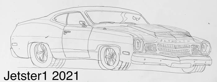 Plymouth Duster Sketch Toon