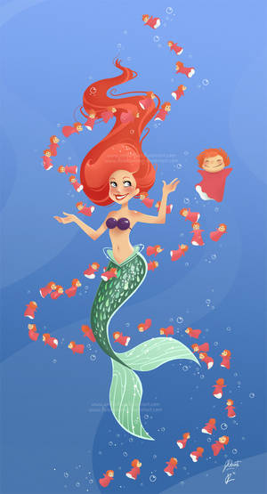 Ariel and Ponyo Under the Sea