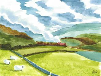 Watercolour Steam Train