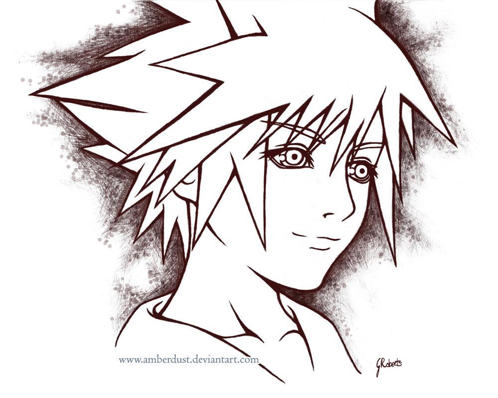 Sora Kingdom Hearts Lineart : Kh sora lineart by amberdust on deviantart