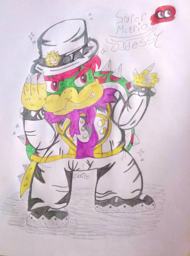 how to draw bowser from super mario odyssey
