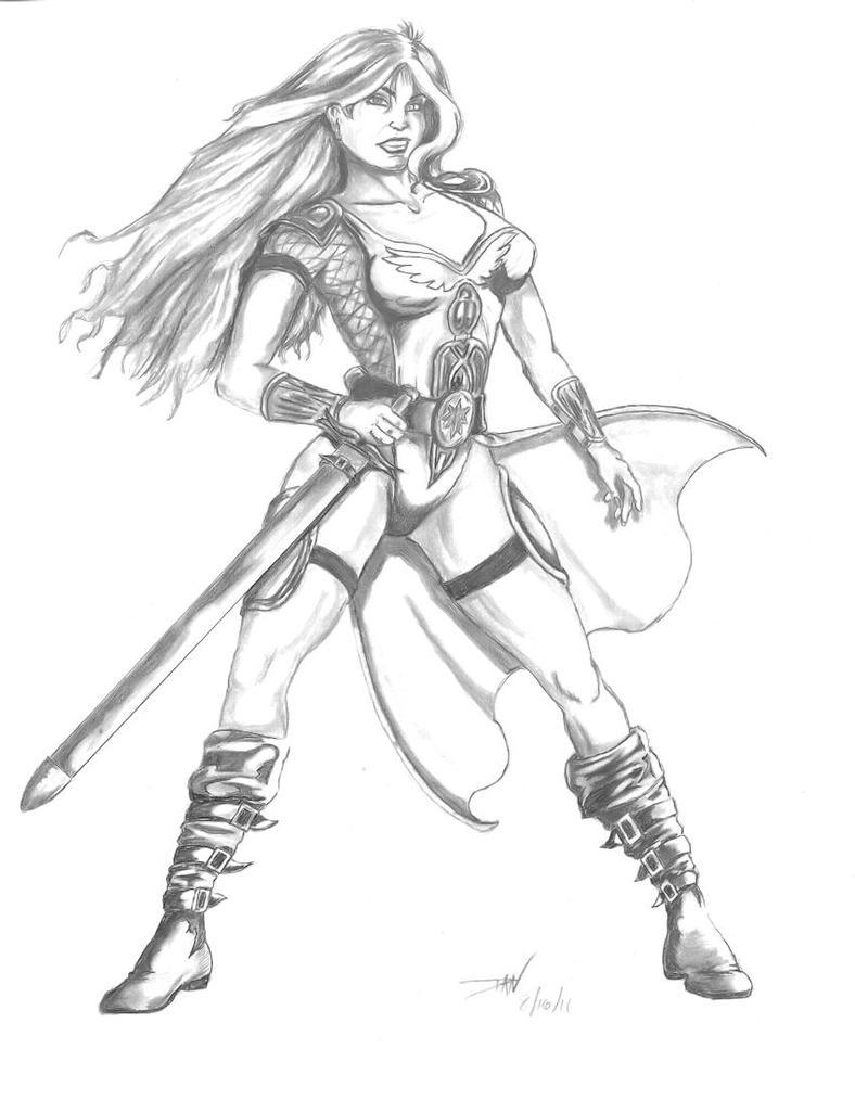 Line Drawing Knight : Female knight by sfxman on deviantart