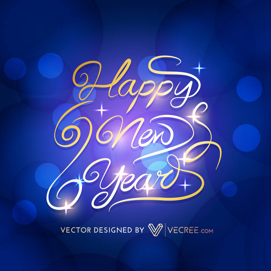 Golden Happy New Year Free Vector by vecree