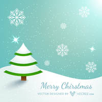 Christmas Tree Covered With Snow Free Vector by vecree