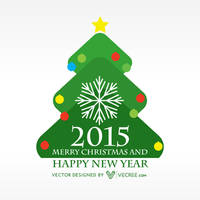 Happy New Year In Christmas Tree Free Vector