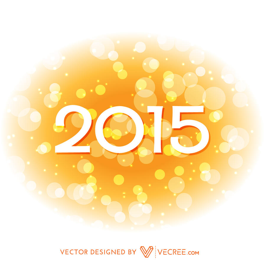 2015 Happy New Year Design In Yellow Style Free by vecree