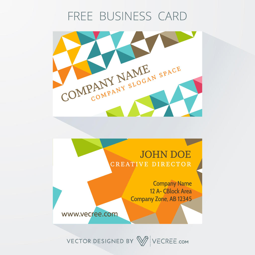 Colorful Business Card Design Free Vector by vecree on DeviantArt