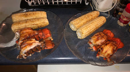 Butterflied Lobster Tails with Corn
