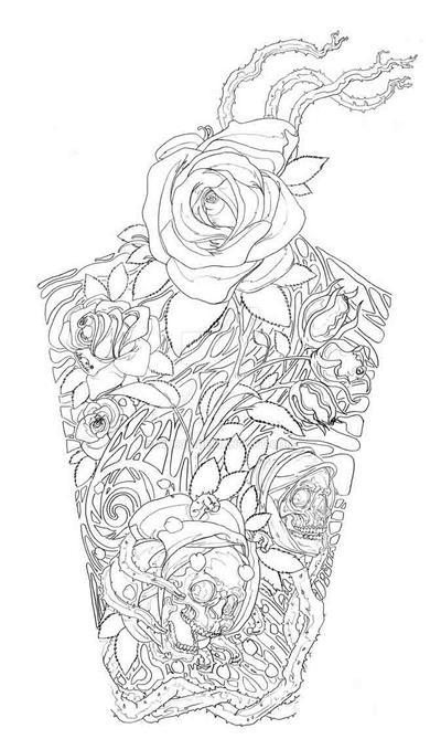 Skull And Roses Tattoo Design By Mu63n On Deviantart