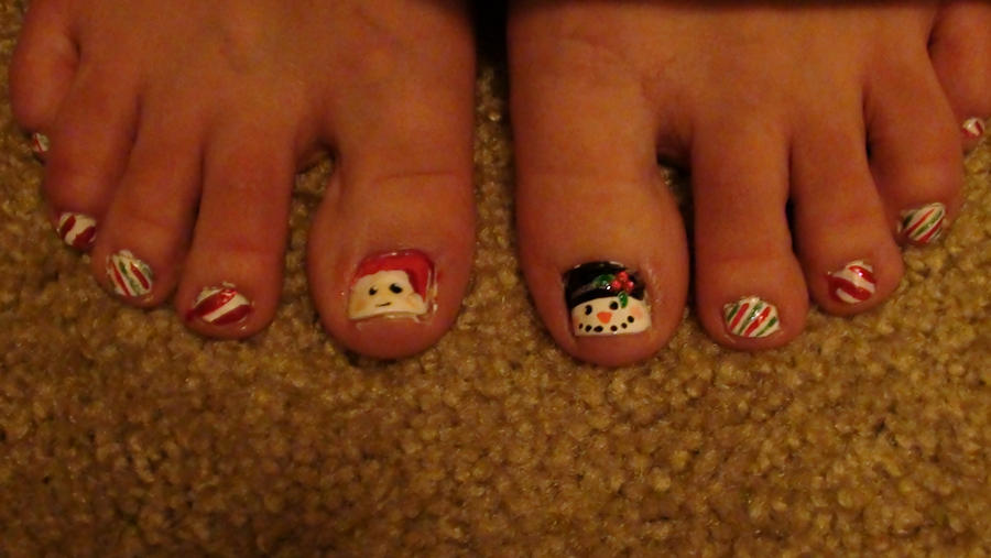 Christmas Toe Nails By Everyoneslawschool On Deviantart