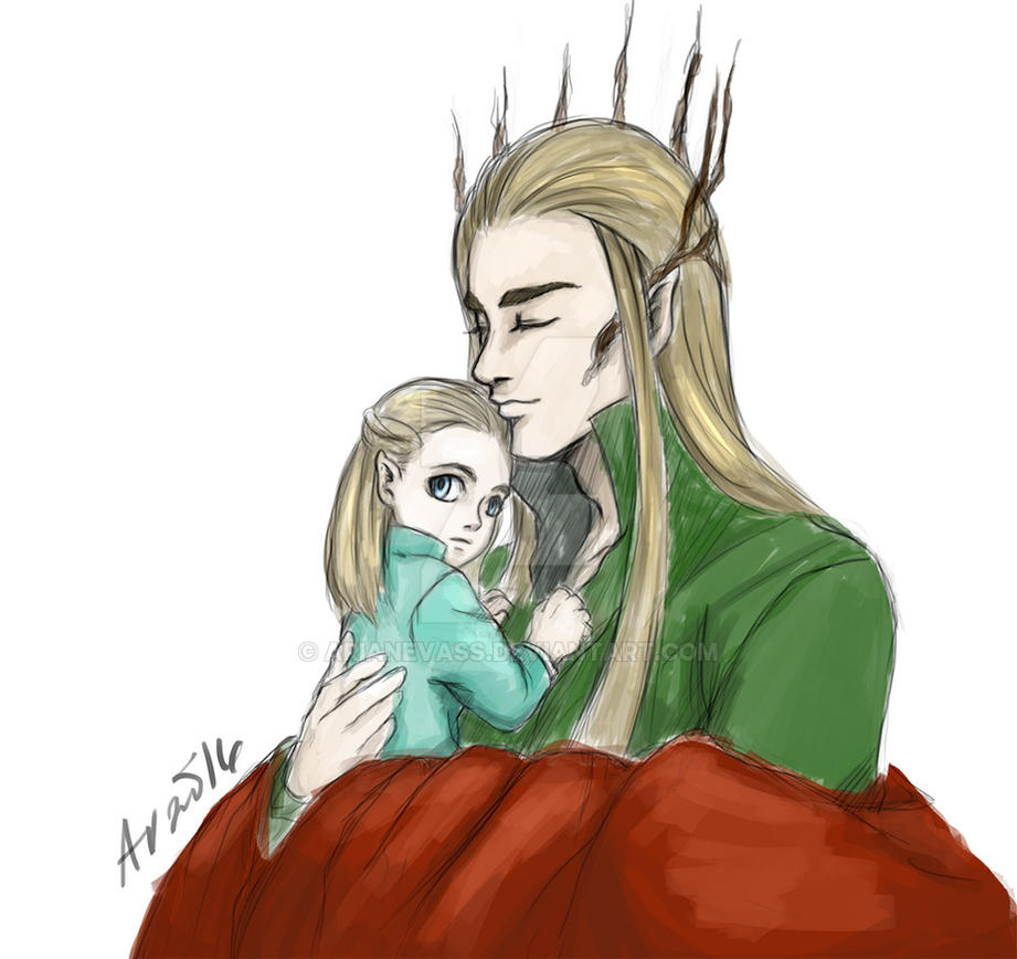 Thranduil and Legolas warm up doodle by ArianeVass