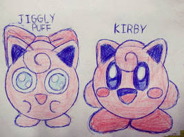 Jigglypuff and Jiggly Kirby by cuddlesnam
