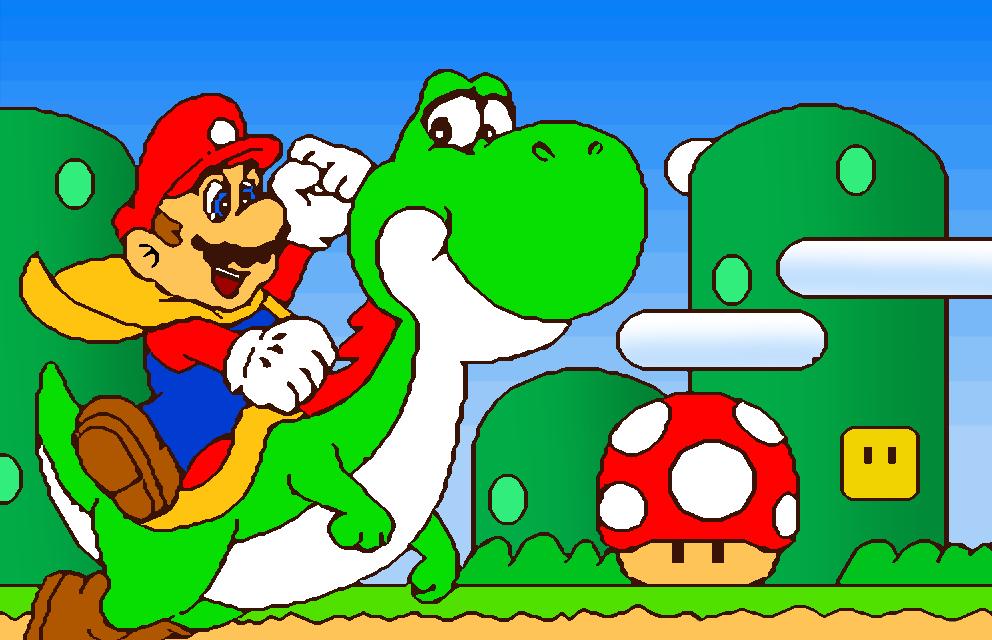 Super Mario World (Mario Paint Coloring) by cuddlesnam on DeviantArt