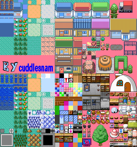 Pokemon Town Tileset on RPG Maker 2003 by cuddlesnam on