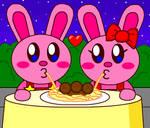 Bunny Kirby Eating Spaghetti and Bunny Kirrie