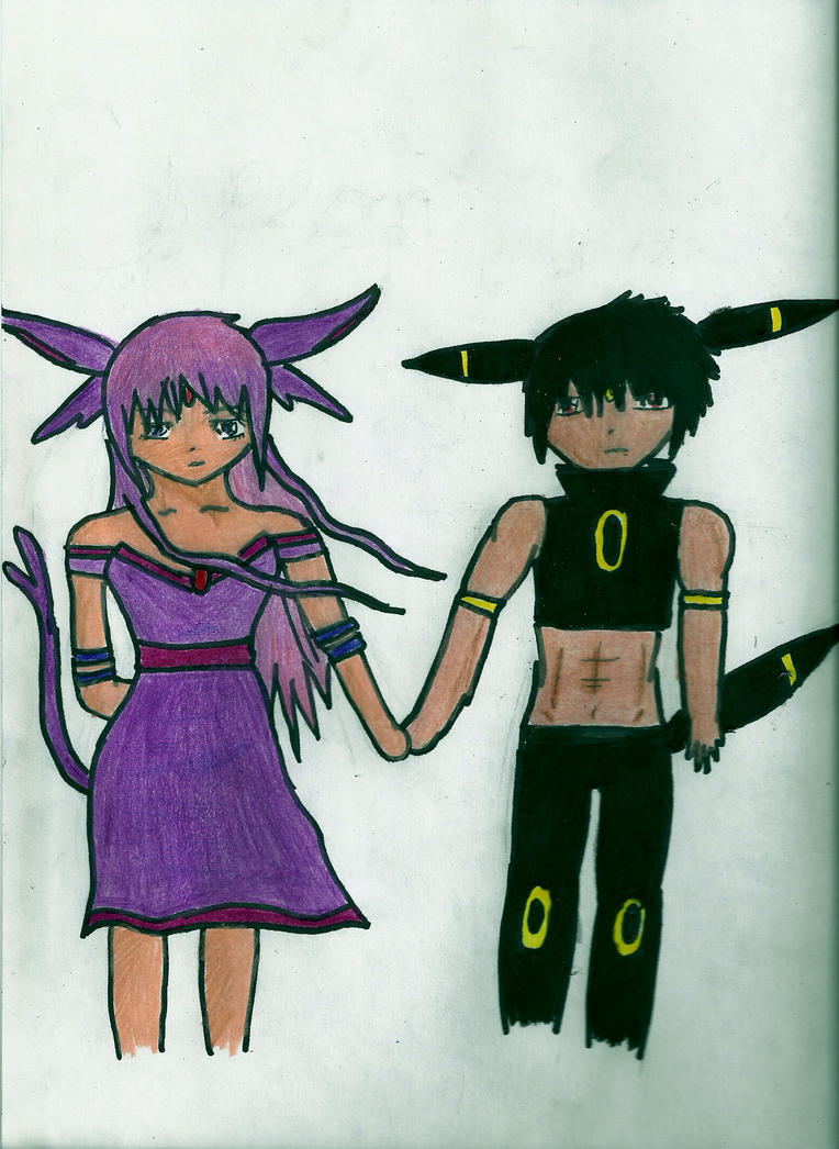 Espeon and Umbreon Human form colored by xogirlxo78 on DeviantArt